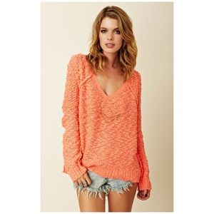 Free People songbird pullover sweater in orange